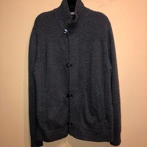 Heavy Cardigan Sweater w/ Clasp Buckles Pockets LG